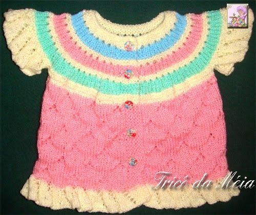 CASAQUINHO DA REGINA  http://tricodameia.blogspot.com/ Montar 76 pontos na agulha nº 3 Lã Branca-Fazer 6 carreiras em tricô. Lã ...