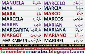 Nombres en Arabe para Tatuajes: Marcos Marcela