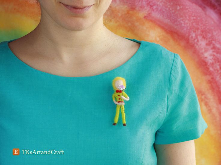 Cute Needle Felted Brooch Doll - Prince and Rose by TKsArtandCraft on Etsy