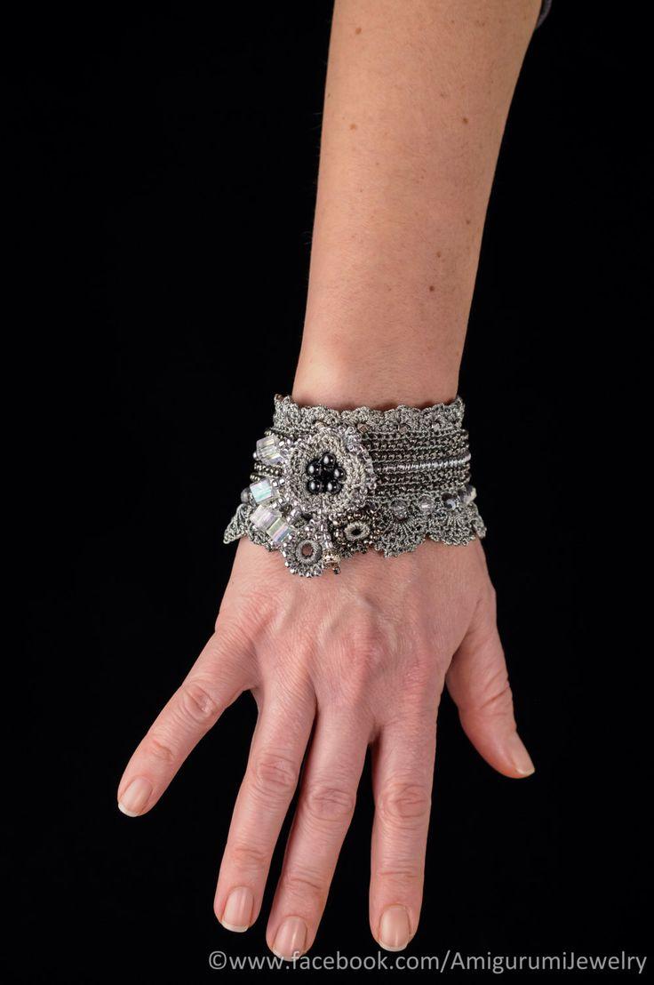 Metal Color Crochet Bracelet Cuff. Beaded Crochet Bracelet. Freeform Crochet Bracelet Cuff. by KaterinaDimitrova on Etsy https://www.etsy.com/listing/216631817/metal-color-crochet-bracelet-cuff-beaded