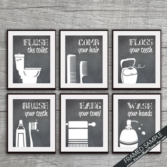 Funny Bathroom Prints Set Of 6 Art Prints Featured In Vintage