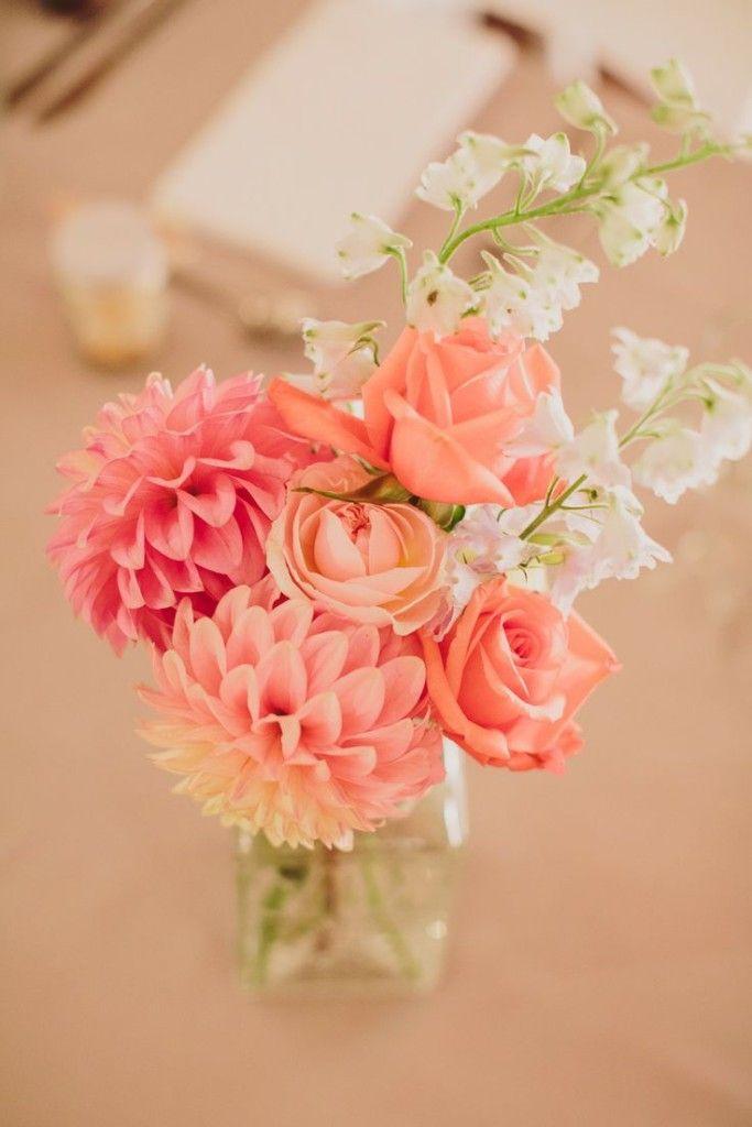 pink dahlia wedding centerpiece