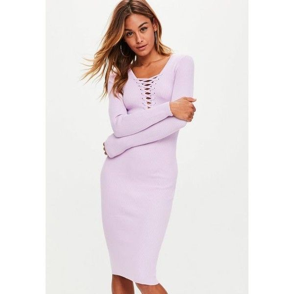 Missguided Plunge Lace Up Knitted Midi Dress ($48) ❤ liked on Polyvore featuring dresses, purple, midi dress, long sleeve midi cocktail dress, purple midi dress, long sleeve plunge dress and pink long sleeve dress