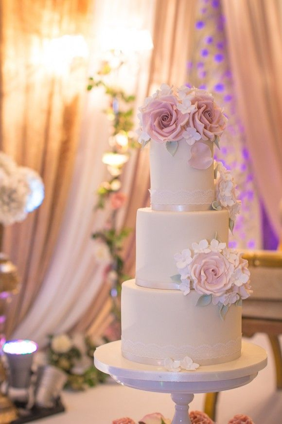 A Bespoke Dress for a Wedding of Two Halves at The Mere. White and pink wedding cake. Image by Jack Knight Photography. Read more: http://bridesupnorth.com/2016/06/13/culture-class-a-bespoke-dress-for-a-wedding-of-two-halves-at-the-mere-cheshire-khadiga-ahmed/