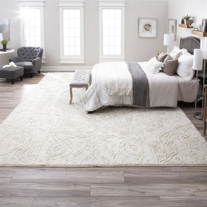 Mohawk Home Loft 10 X 14 Cream Indoor Medallion Farmhouse Cottage Area Rug Lowes Com In 2020 Bedroom Rug Placement Farmhouse Area Rugs Living Room Area Rugs