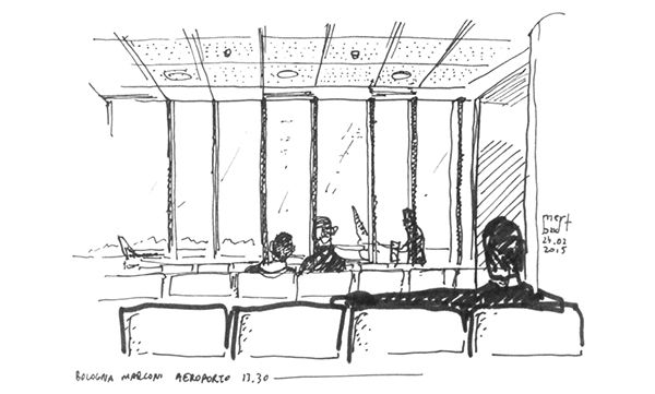Waiting a flight, sketching in the airport at Marconi Airport, Bologna, Italy 24.02.2015