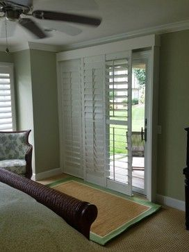 Sliding glass door shutters design ideas pictures for Decorating with plantation shutters