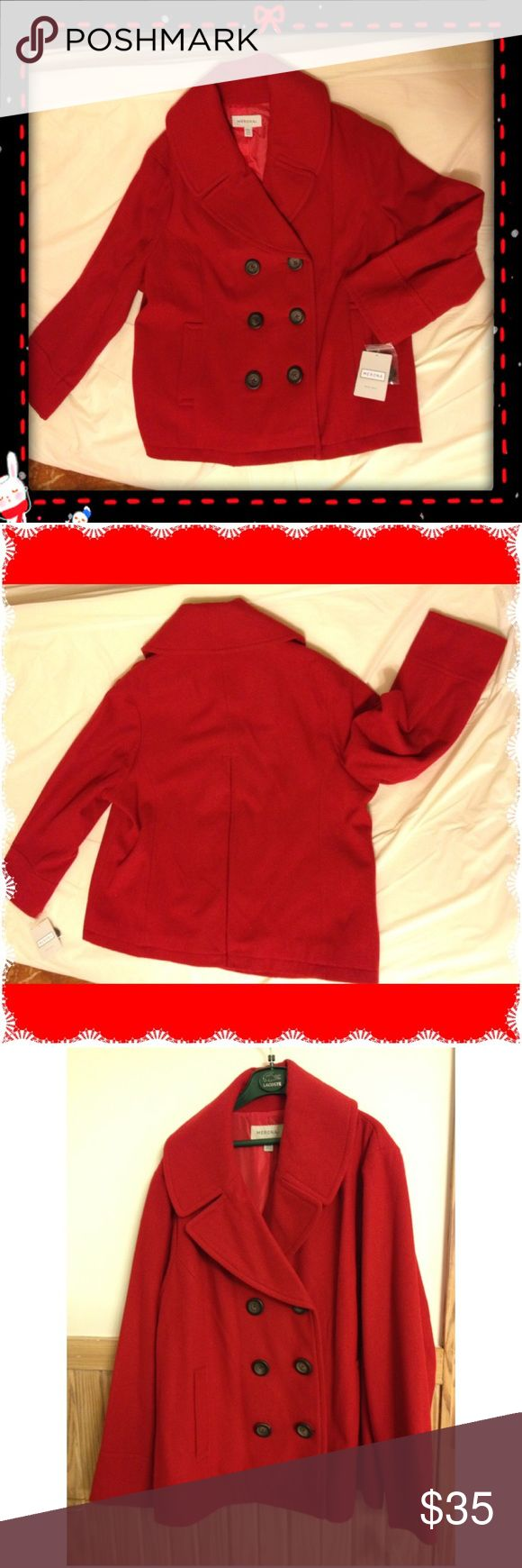 New Plus size Pea coat Brand new with tags. Red Pea coat size 24/26. Smoke free & Pet free home. Merona Jackets & Coats Pea Coats
