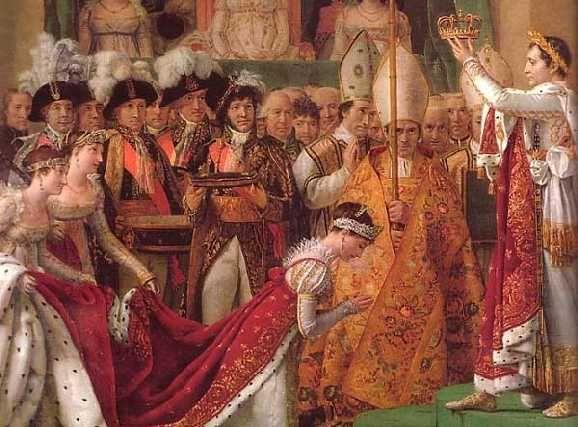 Coronación de Josefina por parte de Napoleón, en la época del romanticismo.