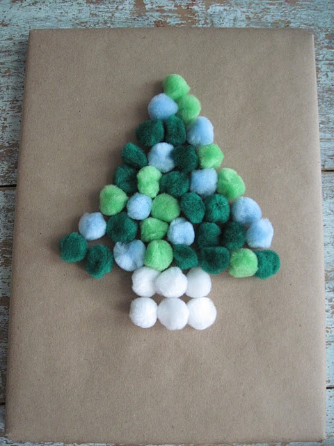 cute packagingChristmas Gift Wraps, Gift Wrapping, For Kids, Pompom, Wraps Gift, Pom Pom, Christmas Trees, Kids Gift, Wraps Ideas