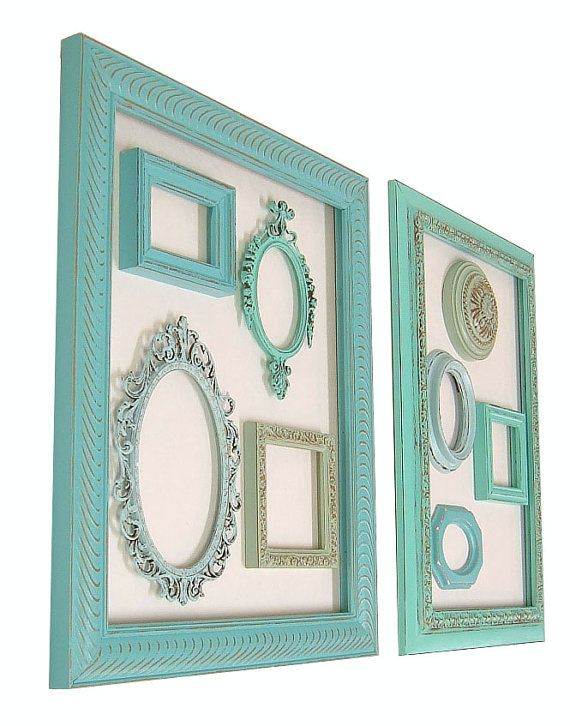 Shabby Chic Picture Frames Picture Frame Set Distressed Frames Ornate Picture Frames Beach Cottage Turquoise Aqua Blue Home Decor