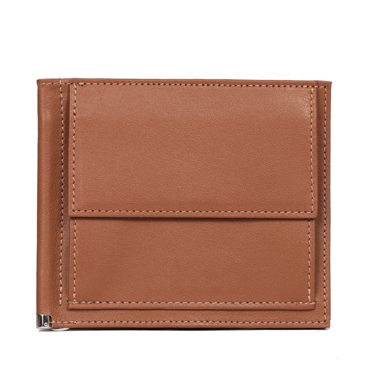 LINUS men's clip purse calf leather in cognac Men Wallets All products