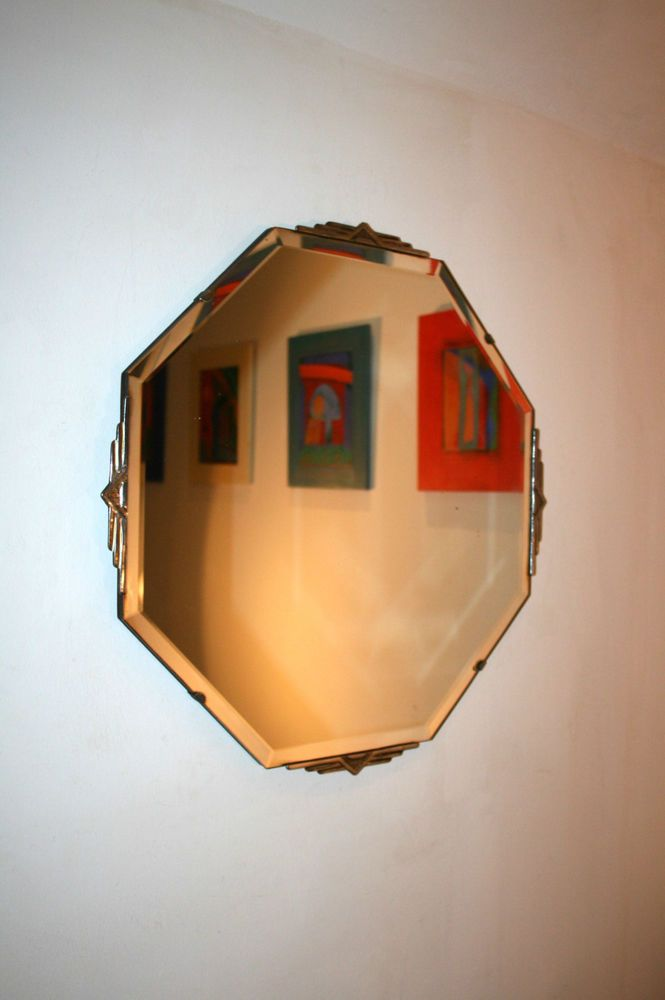Vintage Art Deco Style Bevelled Edge Hexagonal Frameless Wall Mounted Mirror In Home Furniture