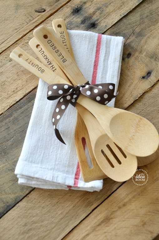 hostess-gift - stamped wooden spoons. Such a great idea! I am going to