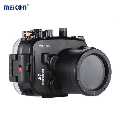 MEIKON SY-14 40m / 130ft Underwater Housing Black Waterproof Camera Case for Sony A7 A7R