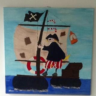 Piet piraat, acryl verf. Formaat 80*80. Door Jannet in 2002.