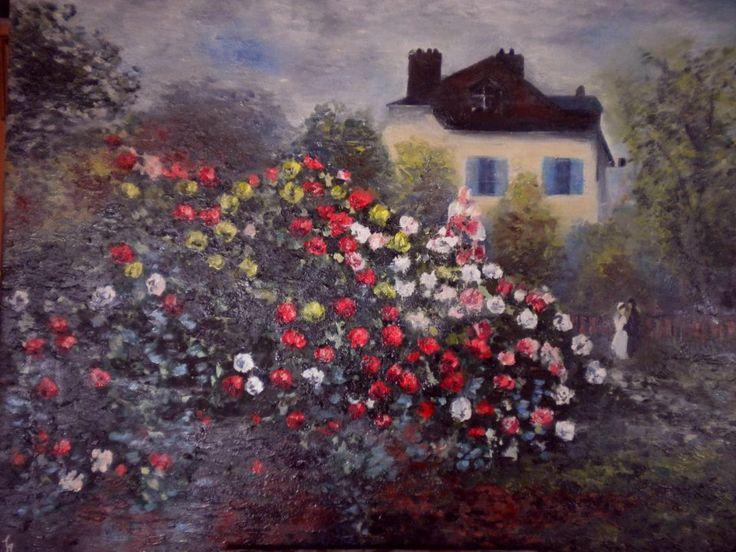 "Riproduzione di un'opera di Claude Monet ""Le jardin en Argenteuil"""