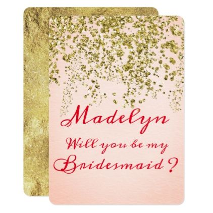 Pink Champagne Bridesmaid Request Card - foil leaf gift idea special template
