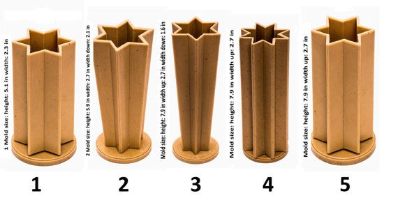 Candle molds for candle making - For Carved Candles Molds are made of plastic 40 ft. of wick included as a gift