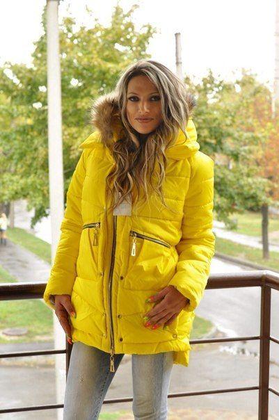 Зимняя куртка парка желтая
