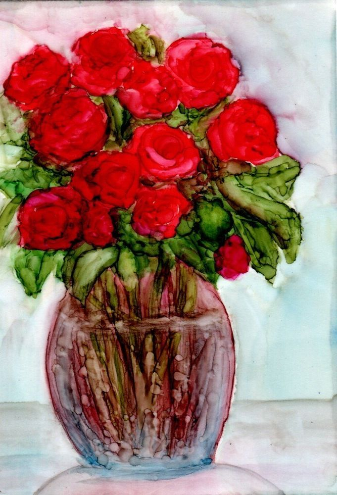 Aceo Dozen Red Roses Flowers Vase Painting Alcohol Inks Art By Penny Lee Stewart Realism Alcohol Ink Art Floral Painting Artist Promotion