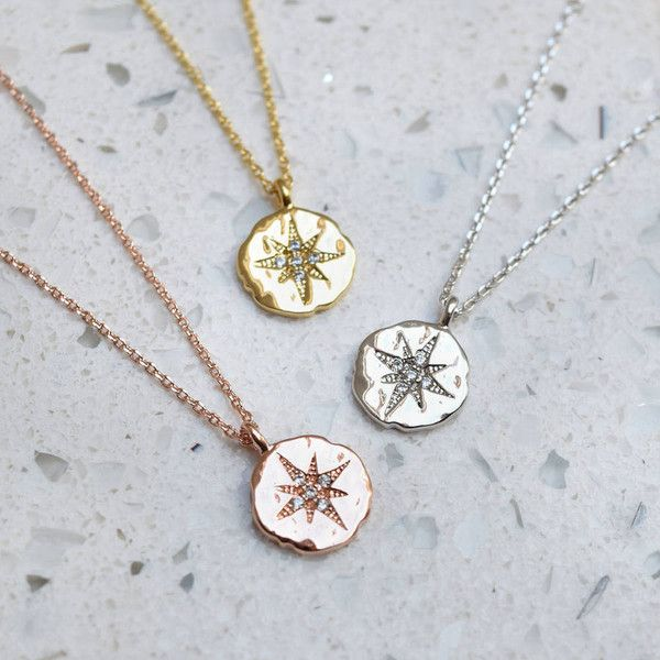 Belle Ami North Star Necklace ($22) ❤ liked on Polyvore featuring jewelry, necklaces, coin jewelry, star jewelry, star pendant necklace, pendant necklace and coin pendant
