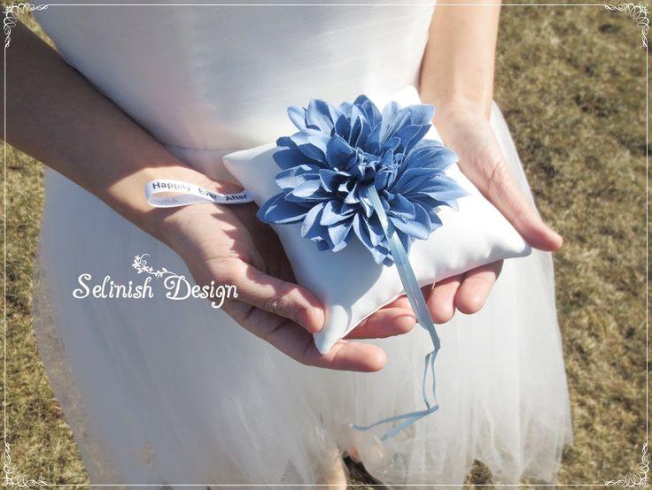 Blue Dahlia Ring Bearer Pillow, Vintage Wedding, Dusty Blue Wedding pillow, Something Blue- code: RP154dusty by SelinishDesign on Etsy