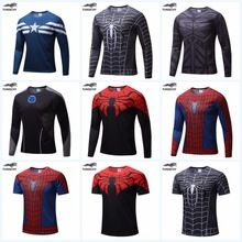 TUNSECHY NEW Marvel Super Heroes Avenger Batman T shirt Men Compression Armour Base Layer Long Sleeve Thermal Under Top Fitness //Price: $US $5.63 & FREE Shipping //