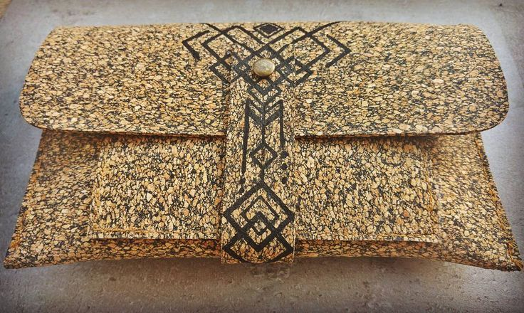 Geometrical Tribal Cork Wallet ~ Hand Drawing **Eco Friendly** ~Facebook page: https://www.facebook.com/ethnica.dl/ ~Favorite my Etsy shop: https://www.etsy.com/il-en/shop/EthnicaDesigns ~ Follow me on Pinterest: https://www.pinterest.com/diklal/