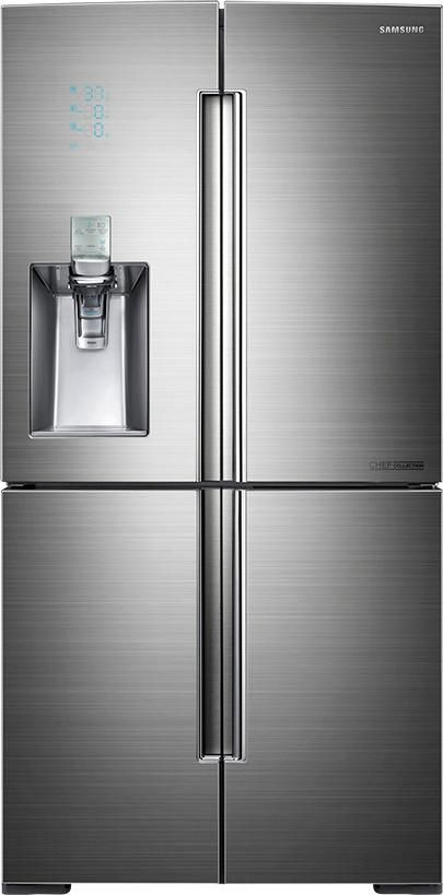 Samsung - Chef Collection 34.3 Cu. Ft. 4-Door Flex French Door Refrigerator with Thru-the-Door Ice and Water - Stainless steel - Larger Front