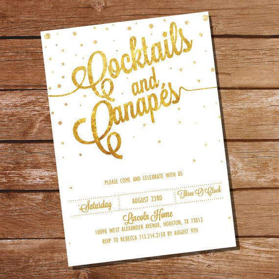 Gold Glitter Cocktail Party Invitation - so festive! #cocktailparty #parties