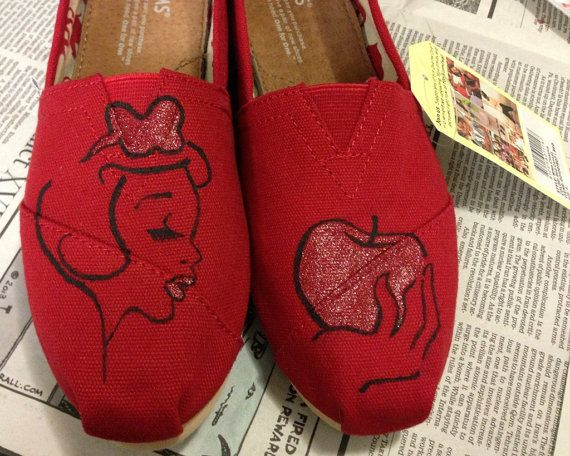 Custom Hand Painted Snow White Red Black Styled Disney TOMS Womens Mens Youth Everyday Flats Canvas Shoes Iheartpaintingtoms
