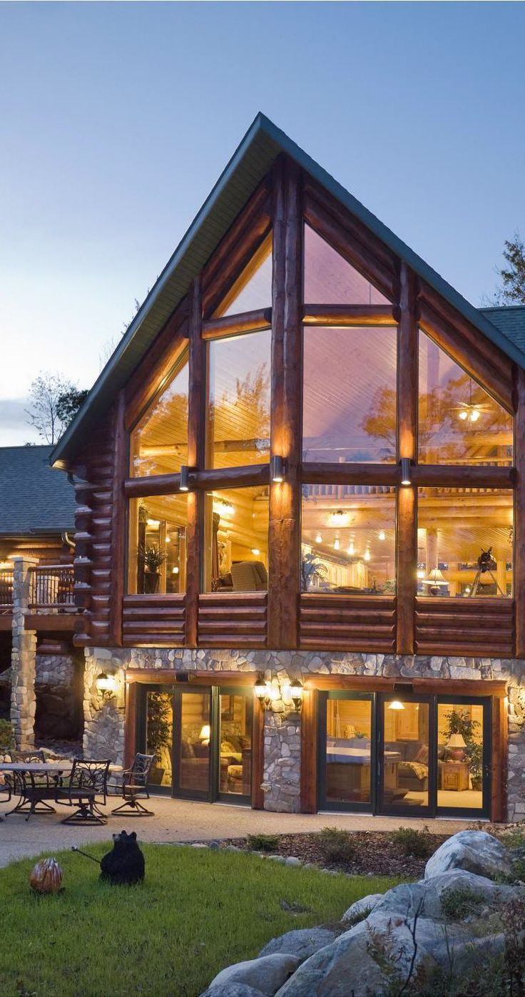 roof and windows. large . max 5' length. project max height 20' - Log Home with Prow Front More
