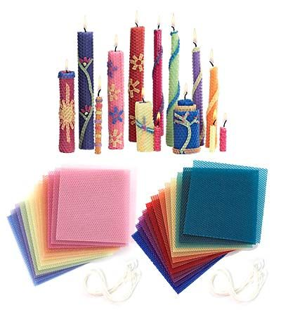 Beeswax Candle Rolling Kit. Rolling your own beeswax candles is a fun, rewarding and incredibly easy craft. Each kit contains twelve square sheets of sweet-smelling beeswax in Pastel or Bright colors, plus 6 yards of wicking and detailed instructions with decorating ideas. You'll find everything you need to make 12 straight-sided or 24 tapered candles for yourself or to give as gifts.