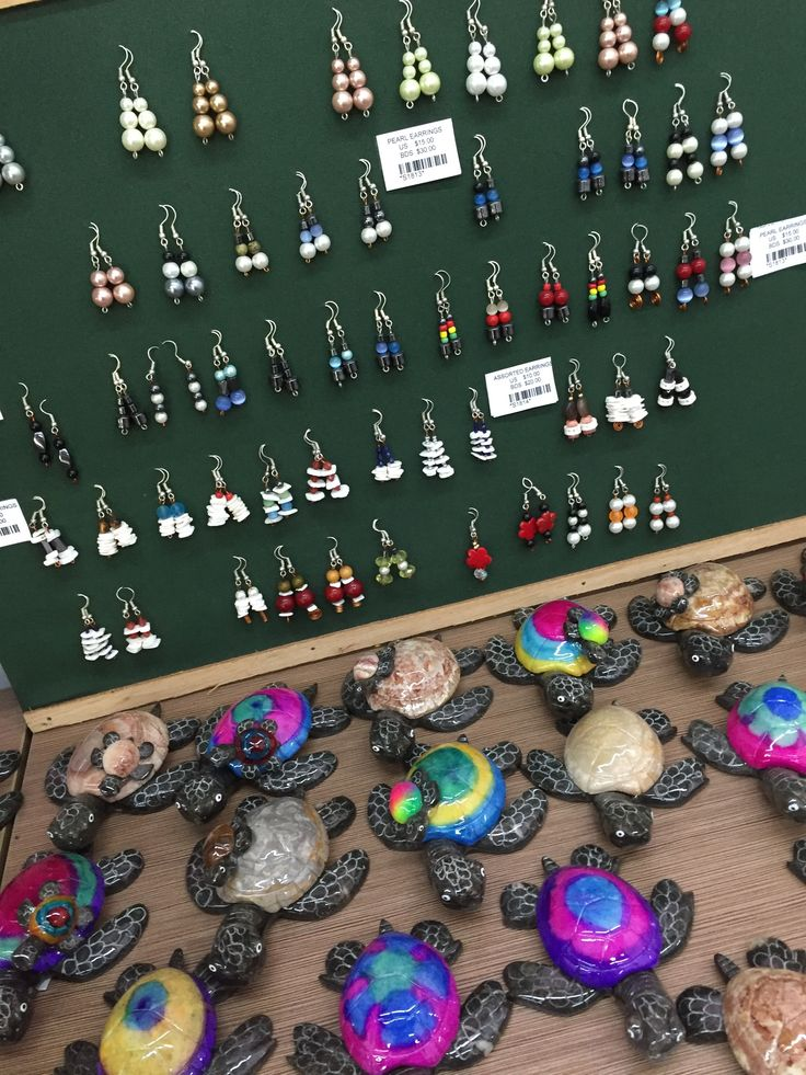 Earrings and mini turtles for sale in our unique shop at Orchid World & Tropical Flower Garden