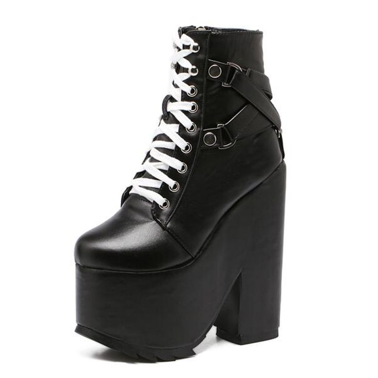 lace up boots winter shoes black Boots Buckle platform shoes wedges boots high heels platform boots women casual shoes D824-in Ankle Boots from Shoes on Aliexpress.com | Alibaba Group