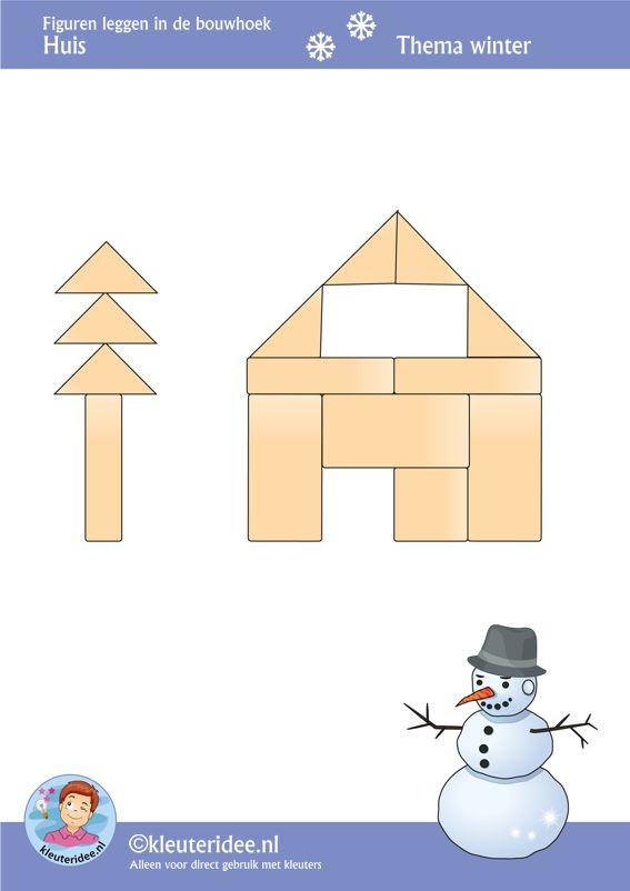 Huis, figuren leggen in de bouwhoek,  thema winter , juf Petra van kleuteridee, Preschool patterns for block area, free printable.