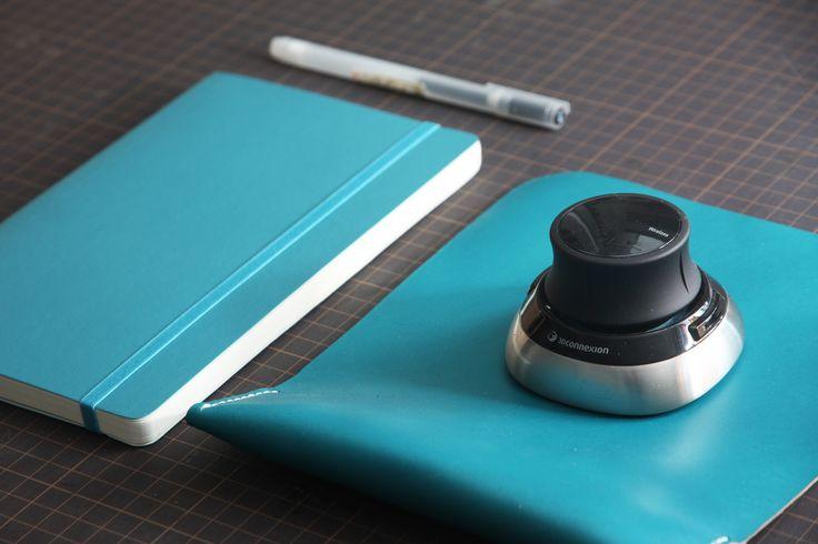 4 essentials for industrial designers MUJI pen / Moleskin sketchbook / 3Dconnexion 3D mouse / KONCEPT mousepad