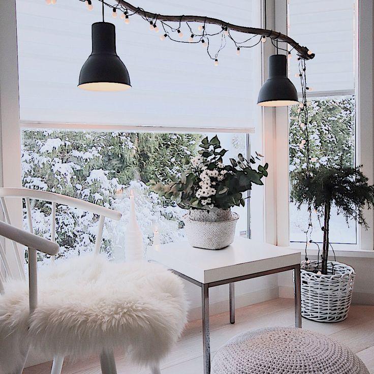 DIY lampe laget av rekved