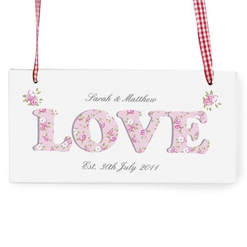 Personalised Floral Design Love Wooden Sign  from www.personalisedweddinggifts.co.uk :: ONLY �12.99