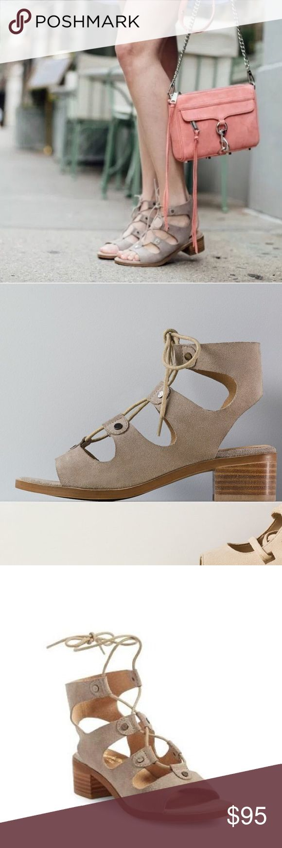 """Gladiator Lace Up Wrap Around Low Heel Sandal Gladiator Lace Up Low Heel Sandals. This trend-right gladiator sandal is styled with slim lacing, a cutout counter and a chunky block heel. 1 3/4"""" heel  Lace-up style with wraparound ankle tie Cushioned insole Leather Suedette upper Tan Seychelles X Anthropologie Anthropologie Shoes Sandals"""