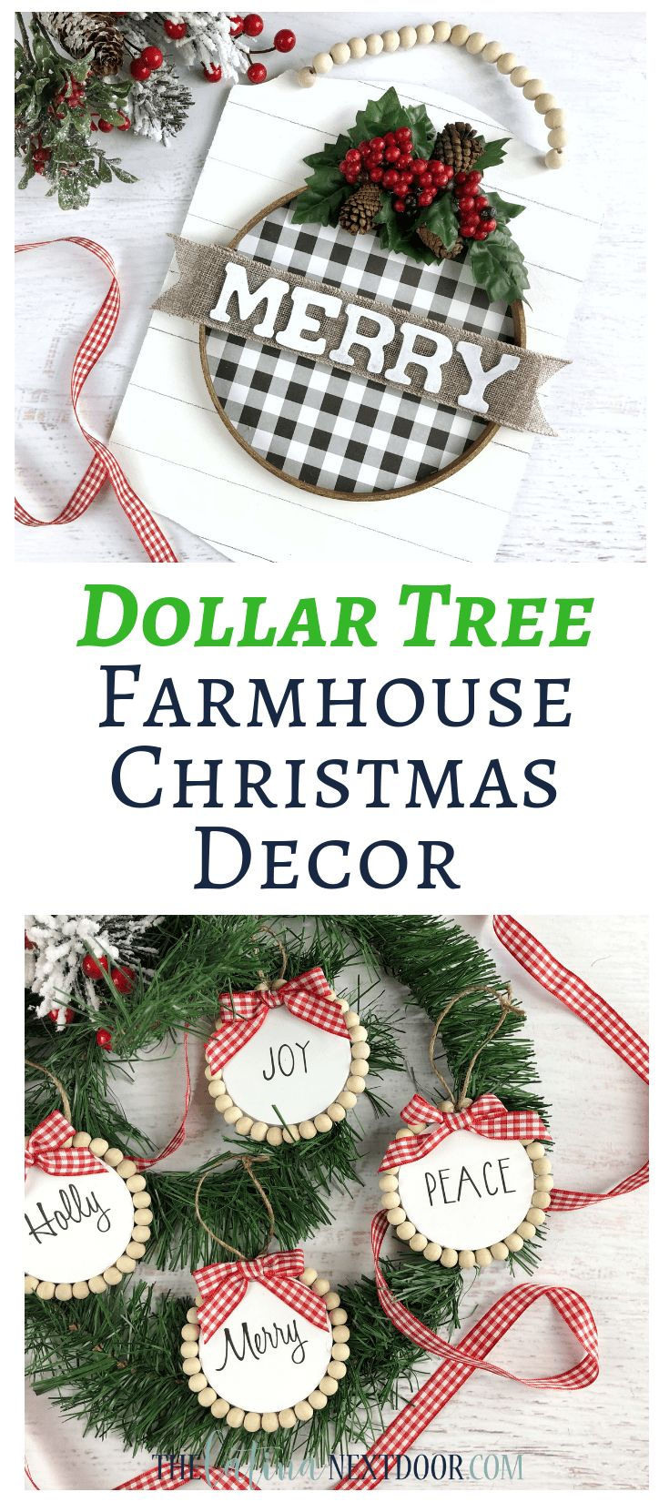 Dollar Tree Farmhouse Christmas Ornaments
