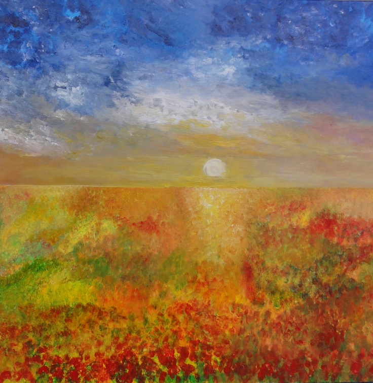 SOLD  EXHILARATION expresses the joy and excitement experienced at the promising dawn of a warm, sunny day. Strong, vibrant colors captures the warm emotions of a summer sun rising over a poppy field in Provence.