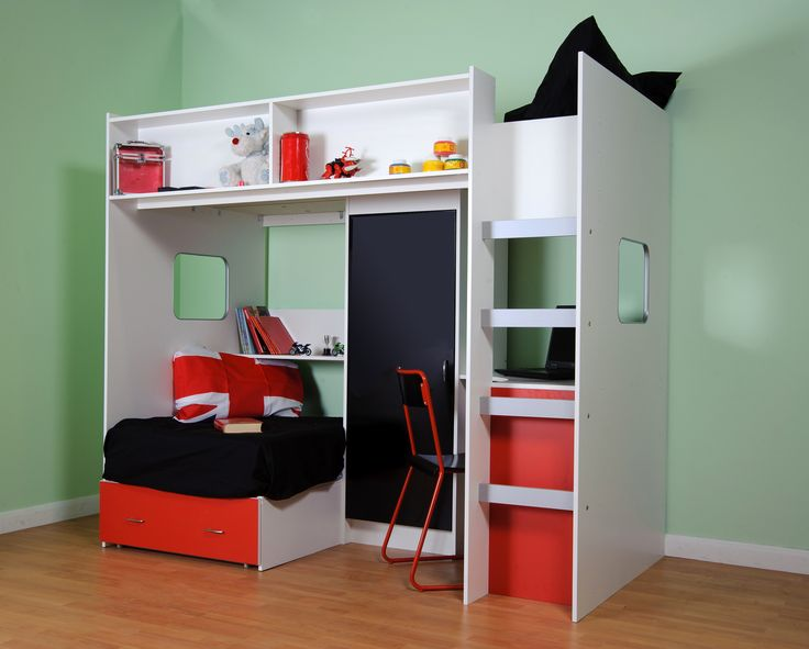 Childrens And Agers High Sleeper Bed With Futon Style Wardrobe Desk
