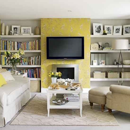 Yellow feature wall on fireplace.....