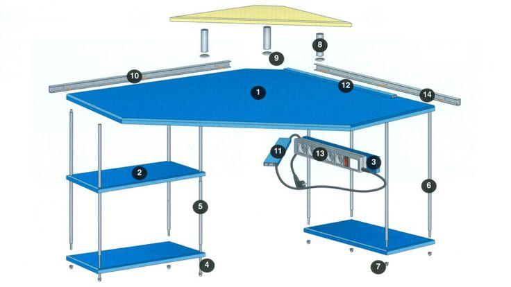 Mesa rinconera para el ordenador - Esquema