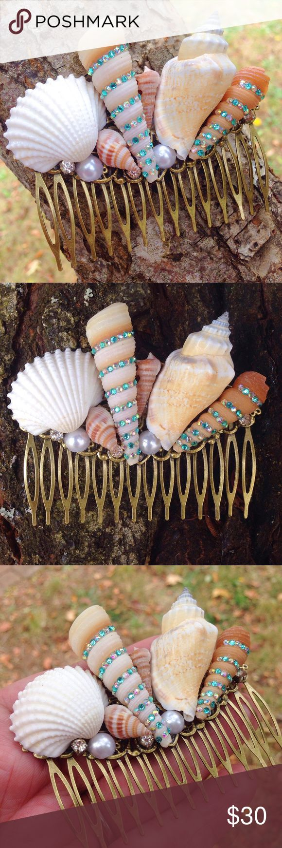 """Handmade seashell hair comb/mermaid/boho/gypsy An Abbie's Anchor Original-This hair comb is made from seashells from the Oregon Coast. Spiral shells are decorated with iridescent gems. You will find a few rhinestones & faux pearl beads hiding amongst the shells-Comb is made from brass filigree and measures 3 1/2"""" across X 2 3/4"""" tall. COMB IS MADE TO ORDER-please allow 3 days to ship. Each comb slightly differs as each shell is unique, I do my best to make it look almost identical to the…"""