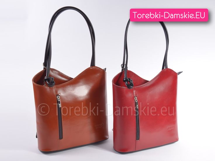 Torebka Florence Design, kolor jasny brąz lub czerwony. Model, który można przekształcić w wygodny plecak