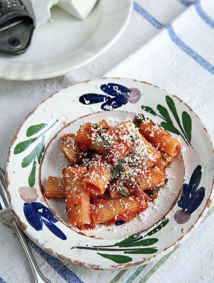 Rigatoni with Tomatoes, Ricotta Salata and Basil