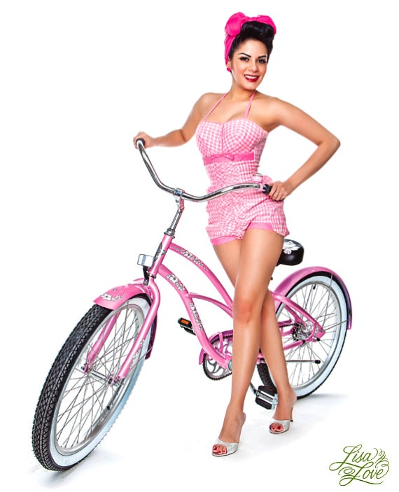 Lisa Love Pinup Print  Pink Bicycle by lisalovevintage on Etsy, $10.00  featured here   http://www.etsy.com/treasury/ODgyNzA3NHwyNzIyNzg3MDc2/pink-is-not-just-a-color-its-an-attitude?index=0